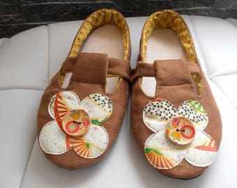 SLIPPERS ballerina wife T38/39 suede Brown and flower orange