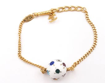 Chanel Vintage Gold Plated Chain Colorful Crystal Ball Bracelet