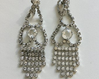 Vintage Clear Rhinestone Chandelier Earrings Wedding Glam