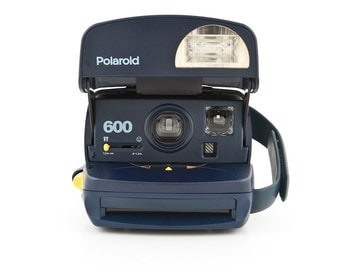 Polaroid 600 Blue Instant Camera - Film Tested and Working - Blue body with closeup lens