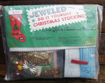 Jeweled Red Christmas Stocking ~ Do It Yourself Edna Looney Product ~ Sequin/Sewing NOS ~ Complete Unopened Kit ~ Vintage
