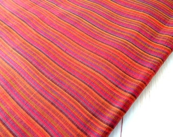 Burnt Orange Striped woven cotton fabric shot cotton  DIY Craft Sewing Apparel small stripe Indian cotton fabric, half yard