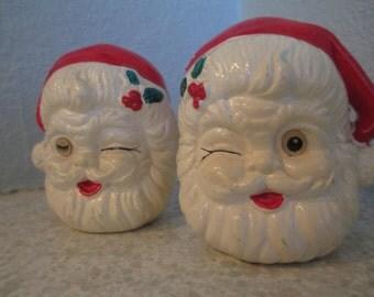 Vintage Winking Santa Salt and Pepper Shakers