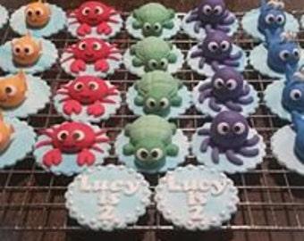 18 edible sea creature cupcake toppers