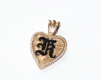Hawaiian Initial K Heart Pendant 14k yellow gold - sku 3531l2