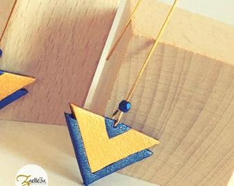 """Boucles d'oreille crochet doré cuir jaune moutarde bleu pétrole chevron - modèle """"SHAKTI"""" Coll. HOLi // géométrique // graphique // chic"""