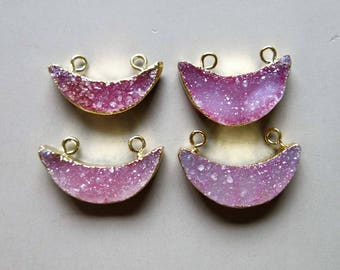 Crescent Quartz Druzy Pendant with Gold Edge - B1285