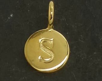 Gold on sterling silver round letter charm S, gold initial S charm,  stamped gold letter charm  , S gold vermeil initial charm