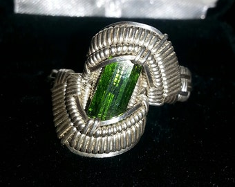 Size 9,Stunning,4 Carat,Top Quality,Green Tourmaline,Sterling Silver,Wire Wrapped Ring,Pakistan Tourmaline,Hand Made
