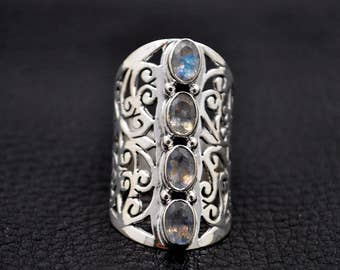Handmade Sterling Silver Moonstone Ring 6.5