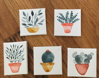 Hand Painted Set of 5 Hangable Tiny Canvas Plants