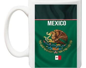 Mexico Flag Wavy Tea, Coffee Mug 11 ounce oz