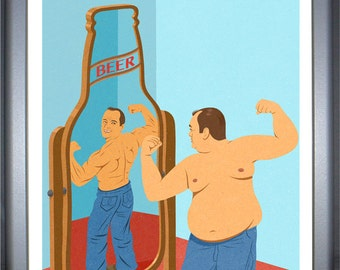 Beer mirror, signed limited edition print