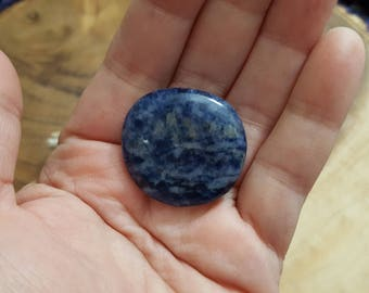 Small Sodalite Palm Stone, Chakra Stone, Worry Stone, Fidget Stone ~ 1 Reiki infused polished flat crystal, 1.2x1.2 inches (SWS01)