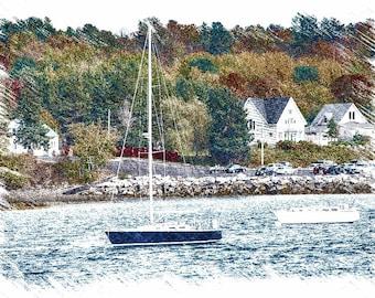 Blue Sail Boat, Maine