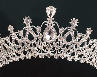 Crown- Large Bridal rhinestone crown,tiara,hairpiece. 1 Day process,ship from GA