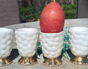 Egg Cups China Set of 4 with Raised Nubby Texture and Gold Lusterware Base