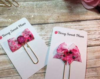 Tiny Daisies - Choice of Ribbon Bow Planner Clips / Bookmarks