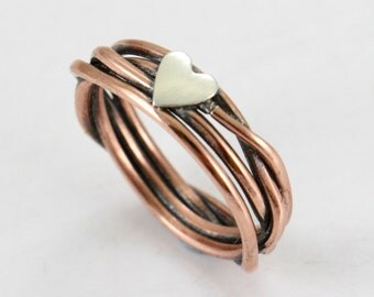 Silver/ Rose Gold/ Gold  Ring- Made of Sterling Silver/ Copper/ Brass Ring with heart- Anniversary Gift- Love Ring- Best gift - Couples ring