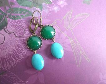 türkiser Tropfen - Ohrringe edel Ohrhänger Ornament grün türkis modern Vintage