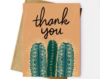 Cactus Thank You Card | Greeting Card | Thank You | Hand Lettered