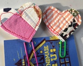 2 Scrappy Quilted Heart PaperClip / PlannerClips