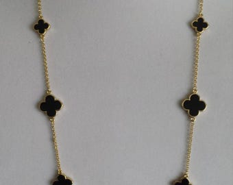 "Gold Clover Long Necklaces,36"" Long, Black  clover, gift for her,Valentine's/Mother's day gift,four leaf clover,"