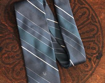 Vintage 1990s Christian Dior Mens Blue Striped 100% Silk Tie Necktie