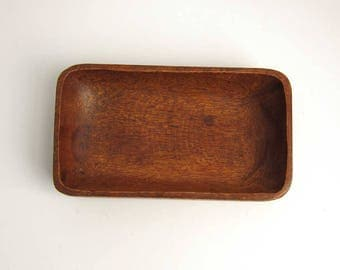 Vintage Monkey Pod Wood Rectangular Shallow Bowl Dish