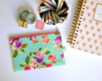 Floral Zipper Pouch, Turquoise Makeup Bag Organizer, Cute Cosmetic Bag, Zipper Coin Purse, Aqua Zippered Bag, Small Clutch, Travel Pouch