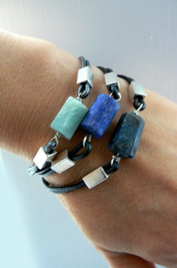 Aquamarine gemstone leather bracelet-Lapis, kyanite rough stone bracelet-Men bracelet gift- Raw stone jewelry -Unisex Valentine's gift