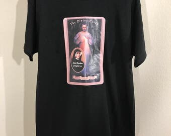 Vintage Religious Catholic T-Shirt St. Faustina & The Divine Mercy Painting SZ M