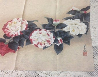 Hand Colored Womens Asian Floral Scarf made in Japan 1950's Natural Color