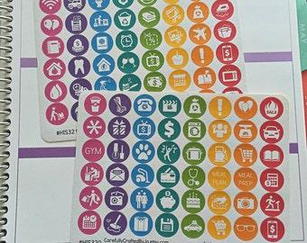Everyday Icon Planner Stickers, Rainbow Sticker- Meal Planning, Birthday, Work, Health ,Erin Condren, Plum Paper, MAMBI, planner accessory