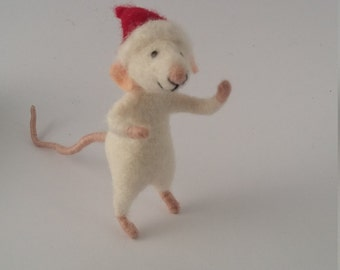 Christmas ornament needle felted animal, felted mouse,  collectible art animal felt doll, Christmas gift 2016 , felt mice, eco friendly toy