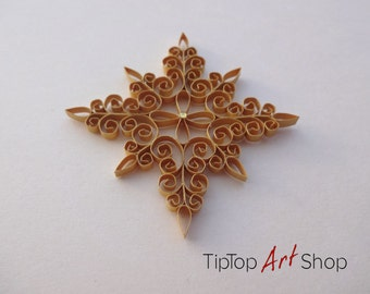 Homemade Christmas Ornament - Paper Quilled Snowflake in Yellow Gold; Winter Home Decor