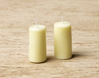 Ivory-Colored Miniature Pillar Candle for Your Dollhouse