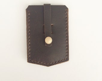 Leather Pull-Strap Snap Case - brown