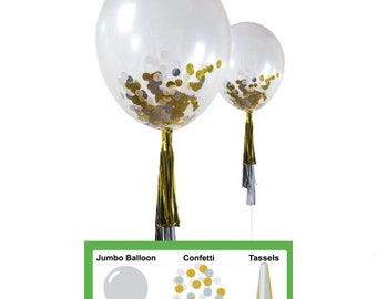 Gold,White,Silver Confetti Balloon Tassel Kit DIY