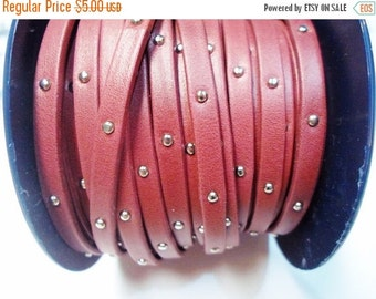 "Pre Cuts:  16"" 5mm Flat Arizona Garnet with Silver Tacks Soft Leather Cord, Studded Strap"