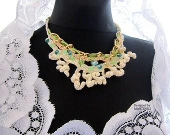 Cream Ivory Crochet Necklace, Bib Crochet Necklace, Statement Crochet, Freeform Crochet, Boho Chic Jewelry