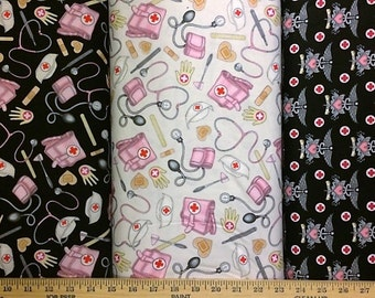 What the Nurse Ordered Cotton Fabric by Quilting Treasures! 3 Choices! [Choose Your Cut Size]