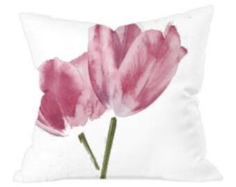 Watercolour Tulip Throw Cushion Cover