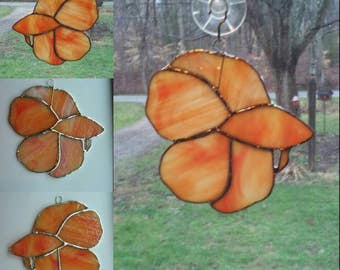 Beta fish Orange mixed Stained glass 5 inches