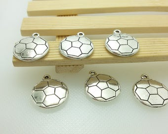 20 pcs Double Sided Football Charms , Antique Silver Football Pendants , Soccer Charms , Football , Sport Charms , World Cup