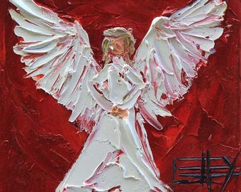 Angel Art, Christian Painting, Angel, Angels, Religious Gifts, 6x6, Gift Art, Religious Wall Art, Christian Wall Art, Angel Wings, Angelic
