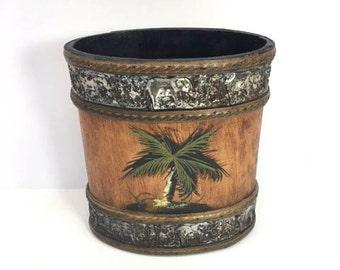 Wood Basket Wooden Oval Basket Polynesian Decor Waste Basket Elephants Palm Trees Motif