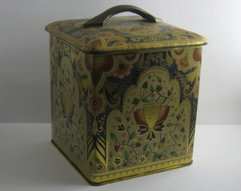 "Old, museal coffee tin can ""hf Faber Kaffee Bremen"" (Germany). Approx. 11.5 x 11.5 cm. 1970s. VINTAGE"