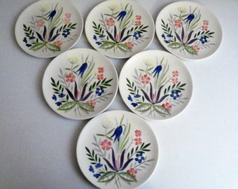 Red Wing Country Garden Circa 1953 Set Of 6 Salad Plates