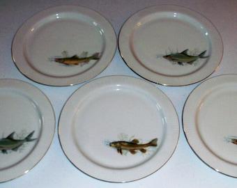 Scherzer Bavaria Germany Antique Set Of 5 Plates With Fish Designs